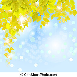 autumn background - hanging autumn branch with fresh yellow...