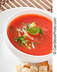 Gazpacho soup - delicious cold Gazpacho soup in white bowl
