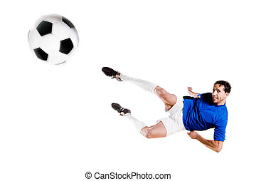 Soccer player in action Full isolated studio picture