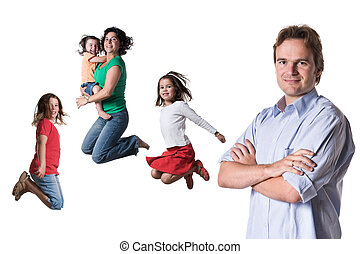 Jumping family - The jumping family Full isolated studio...