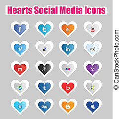 Hearts Social Media Icons 1 - This a set of hearts social...
