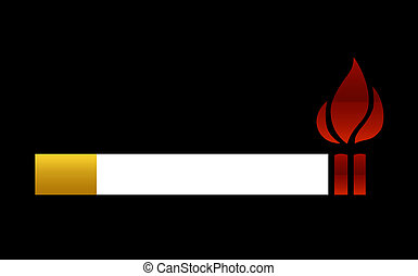 Smoking causes fire - A Cigarettes cause fire conceptual...