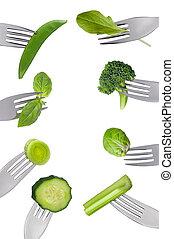 grönsaken, isolerat, grön, frisk, Vägskäl, gräns