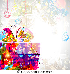Christmas background - background with bright Christmas gift...