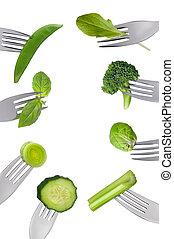 legumes, isolado, verde, fresco, garfos, borda