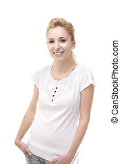 Happy woman with hand in the pocket isolated on white background