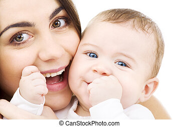 baby and mama - picture of happy mother with baby over white...