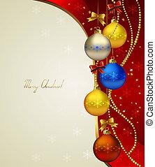 Christmas background - red Christmas background with colored...