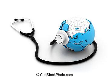 Globe with stethoscope