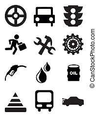 car maintenance and repair icons over white background...