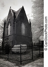 Infrared Photo of a Cemetery and Mausoleum - Infrared photo...