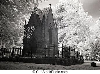 infravermelho, foto, cemitério, mausoléu
