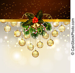 Christmas background with decoration of fir tree and evening...