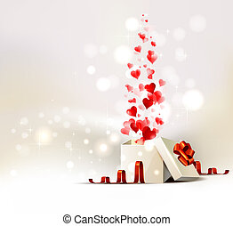 The Valentines day - background with opening gift of...