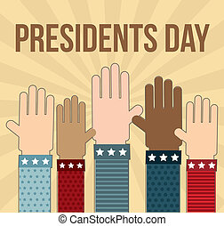 presidents day annoucement with hands. vector illustration
