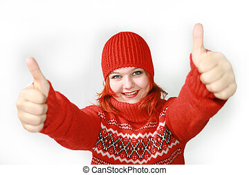 That was awesome - Attractive merry girl gives thumbs up