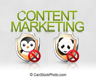 Penguin Panda algorithms web search - Illustrazione che...