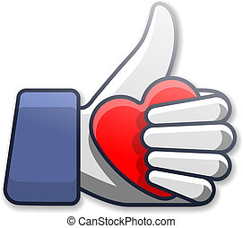 Like symbol icon with heart - Thumb Up symbol icon with...