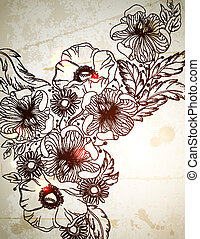 vintage background. - Vintage background with hand drawn...
