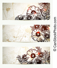 vintage background. - Set of three headers with hand drawn...