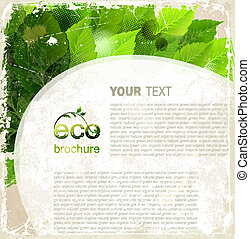 Eco brochure, oval frame with green leaves on the vintage...