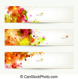 Backgrounds of autumn - Set of three headers Abstract...