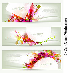 Abstract artistic Backgrounds - Set of three headers...