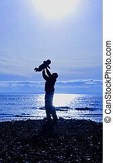 bebê, pai, silueta, filho