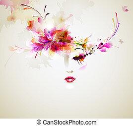 fashion women - Beautiful fashion women with abstract design...