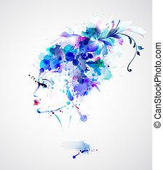 fashion women - Beautiful fashion women with blue abstract...