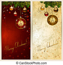 Two Christmas backgrounds with midnight clock