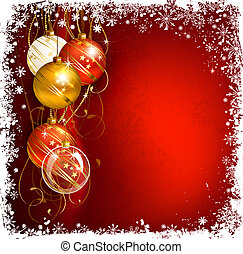red Christmas background with evening balls