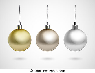 evening balls - Set of three evening balls. Gold, silver,...