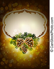 Christmas background with three cones and fir tree