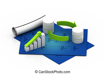 Databases concept icon with graph - Databases concept icon...