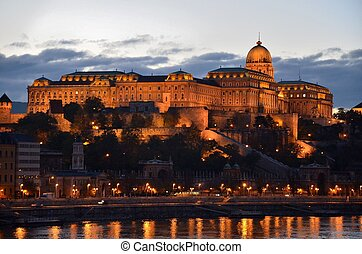 Budapest Palace at night, Hungary - A night view of the...