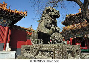 The Lama Temple in Beijing China - Chinese lion sculpture at...