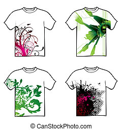 tshirt design - Collection of four tshirt design with floral...