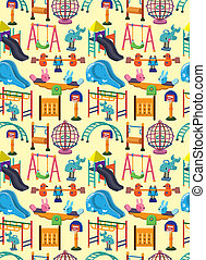 seamless park playground pattern,cartoon vector illustration