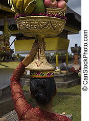 Temple ritual - Preparing offerings for a temple ceremony in...