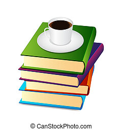 Stack of books with coffee cup EPS10 vector