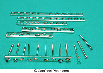 Orthopedic  Implant  Plates and screw on sterile table