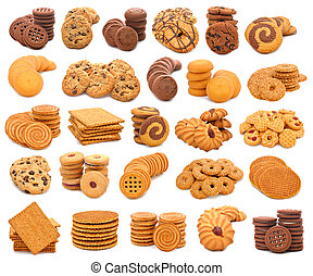 Photo collage of different cookies on white background