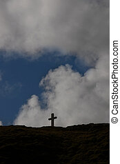 island cross 2 - concrete Cross on top of bear island in...