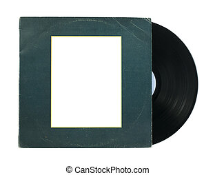 Vinil Record and cover white isolated