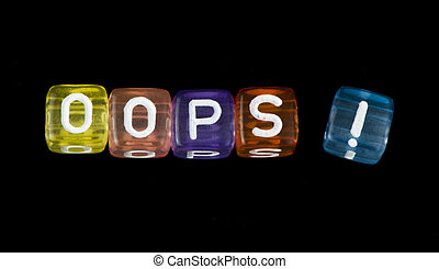 Word Oops Black isolated cubes