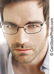 Man face with glasses