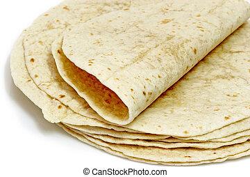 Tortilla bread - Tortilla flat bread on bright background