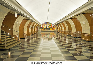 Subway station - Empty station of underground passage is in...