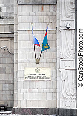 Ministry of Foreign Affairs - State flags on the facade of...
